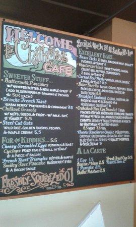 Chilkoot Cafe & Cyclery: Breakfast menu Sun Oct 6 2013