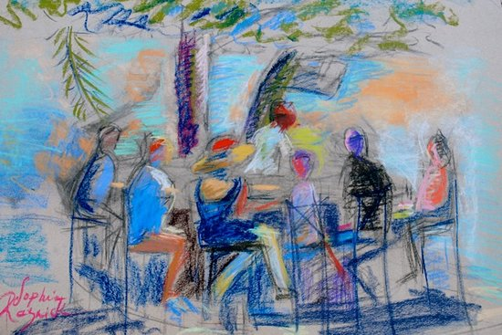 Round Hill Dining: Painting Depicting The Beach Bar at Round Hill