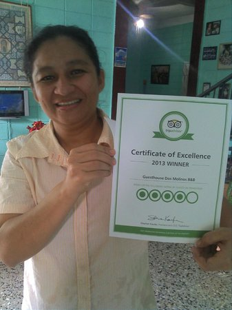 Guesthouse Dos Molinos B&B : Blanca Gets Her 2013 Excellence Award!