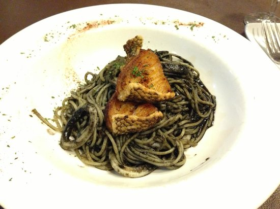 Amici Authentic Italian Restaurant: Exquisite Squid Ink Spaghetti with Fried Cod