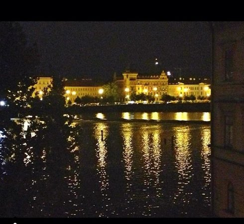 Archibald At the Charles Bridge: View from our room at night!
