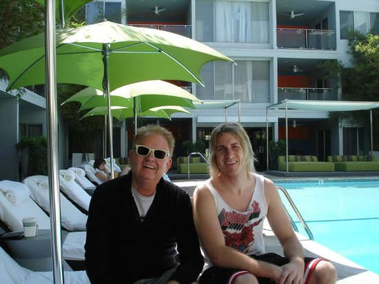 Sunset Marquis: David plus LA band member having fun near pool.