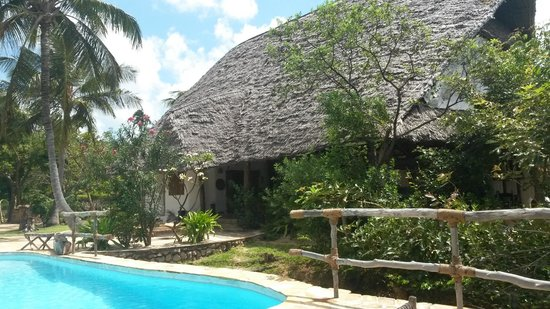 Shamba Kilole Eco Lodge : sala principale dalla piscina