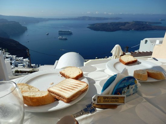 Santorini Mansion at Imerovigli: Breakfast view
