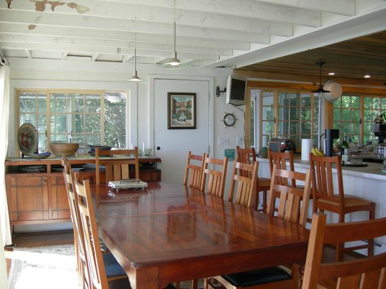 A Beach House Oceanfront Bed and Breakfast: Enjoy the view from the Dining Room or watch the chef prepare your meal.