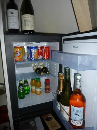 Les Arceaux : small fridge in large bedroom