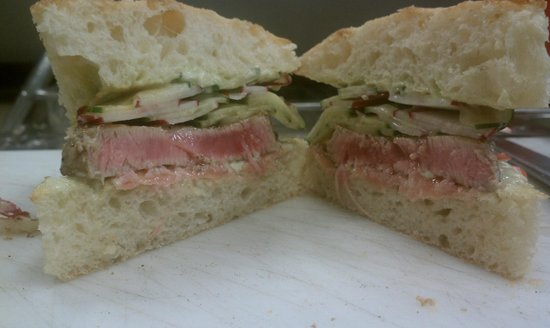 Seared ahi sandwich with wasabi aioli, pickeled ginger and cucumber ...