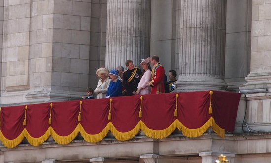 Trooping the Colour: Queen in blue on balcony Buckingham Place 2013 trooping of the colour