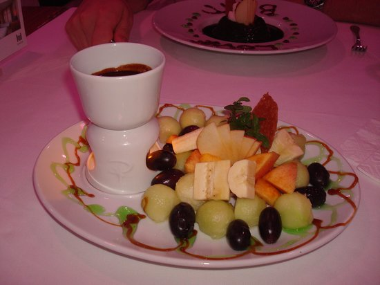The Love Boat: Chocolate fondue with fruit for dipping