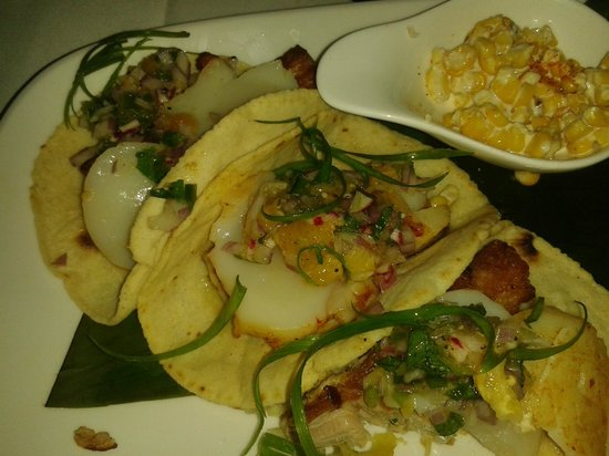 Rosa Mexicano - First Avenue: Pork belly and scallop tacos