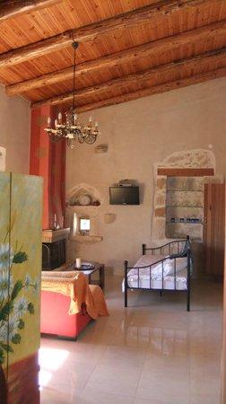 Zouridi Villa Park : salon (Suite FORNOS) avec cheminée et lits simples