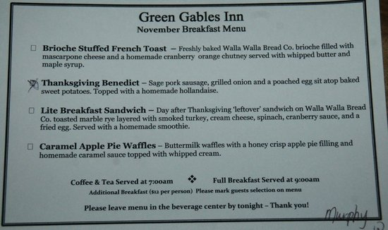 Green Gables Inn : Breakfast menu - you make your choice the night before