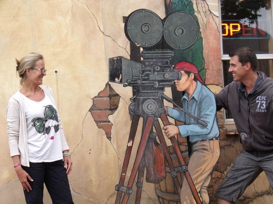 Val visiting a movie set from GUNSMOKE at Little Hollywood