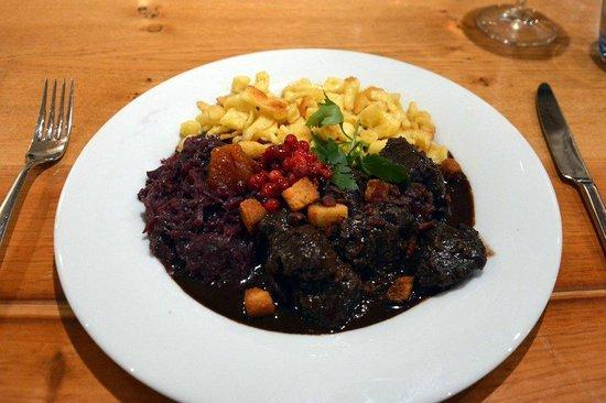 The Rustico Hotel : Venison, Spatzle, red cabbage in a delicious sauce