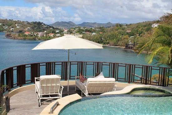 Sandals Regency La Toc Golf Resort and Spa: Relaxing with a beautiful view over the Port of Casties