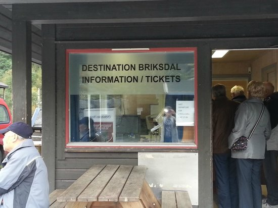 Briksdal Glacier (Briksdalbreen): Briksdalbreen entrance and place to purchase troll car tickets