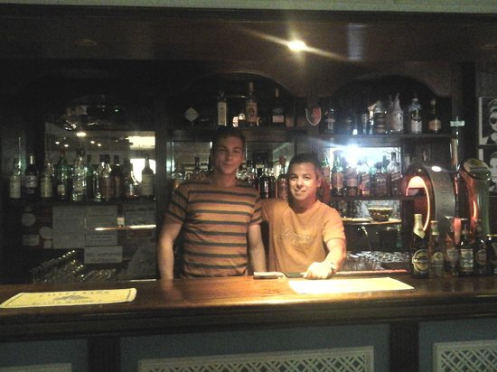 Squash Bar: The lovely barman & my other half!