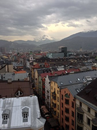Town Tower (Stadtturm) : Panoramic view with the Alps