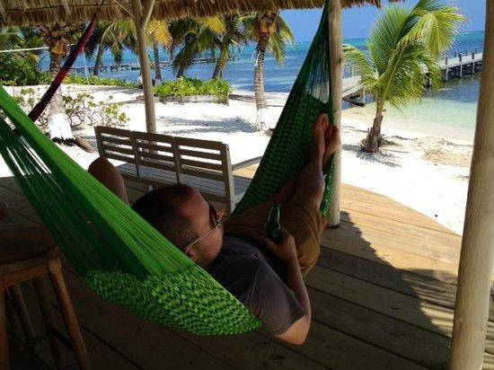 Ambergris Divers Resort: Lounging at the bar hammock with a Belikin beer.