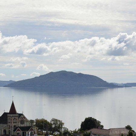 The view from Third Place Cafe over Lake Rotorua