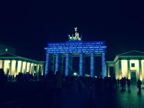 Hotel Adlon Kempinski: Brandenburg Gate projected art show...