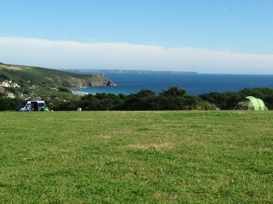 Higher Pentreath Campsite : View of Praa Sands from a pitch in the top field