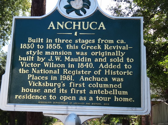 Anchuca Mansion: Historic sign for Anchuca