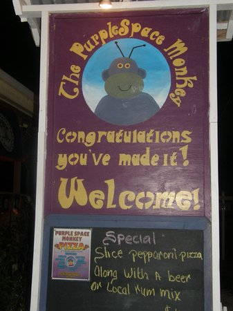 The Purple Space Monkey Bar & Grill: Sign out front