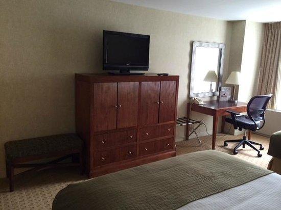Skyline Hotel: TV and work area