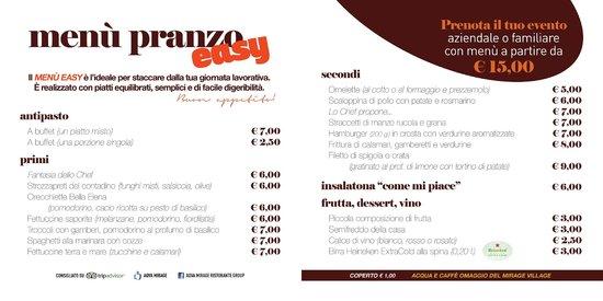 Ristorante Pizzeria AQVA: menu del pranzo