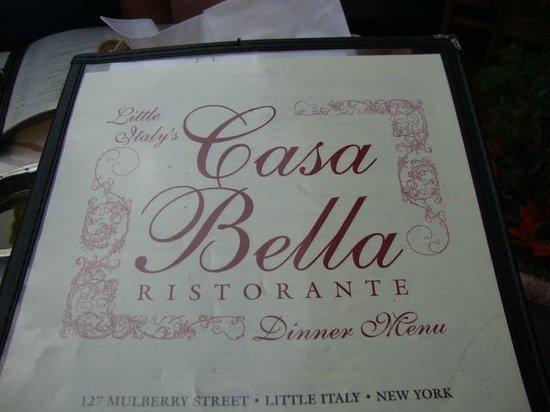 Casa Bella Restaurant: Their Menu..quite extensive.