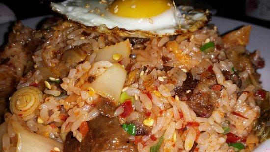 Hashigo Korean Kitchen: Spicy Kimchi Fried Rice. Great flavor and spicy!