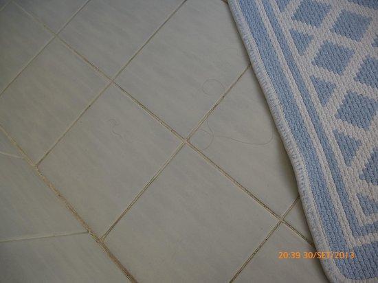 Hotel Brioni : capelli e peli nel pavimento della toilette