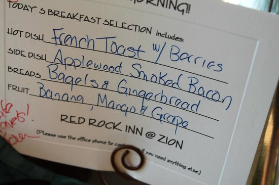 Red Rock Inn Bed and Breakfast Cottages: The day's menu