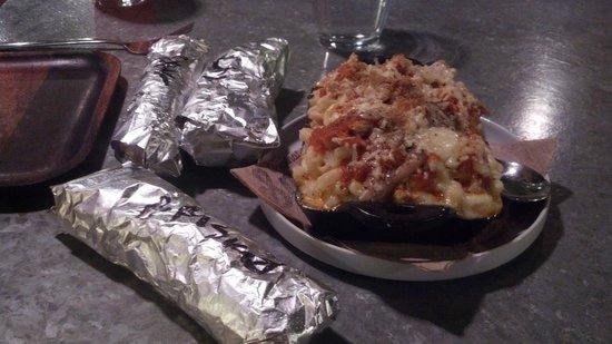 Smoke BBQ Taqueria : Chicken, brisket & pork tacos along side of Enchilada Mac & Cheese!