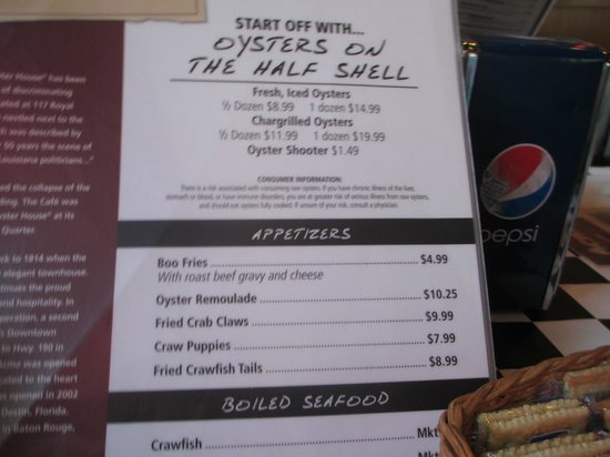 Oyster Menu - Acme Oyster House