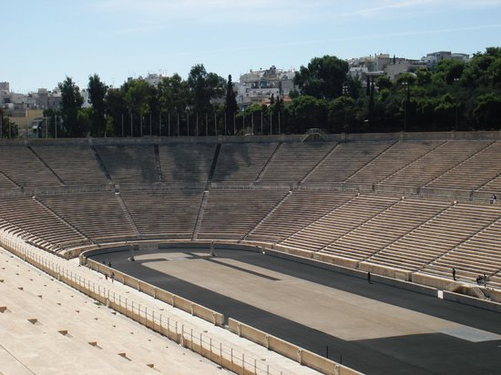 Panathenaic Stadium: The far end of the stadium from high on the terraces