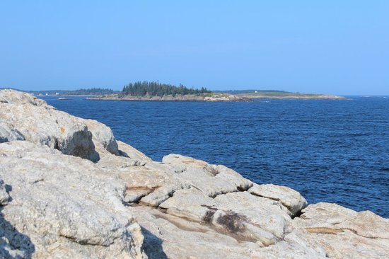 Popham Beach State Park: View from top of rock island into the bay.