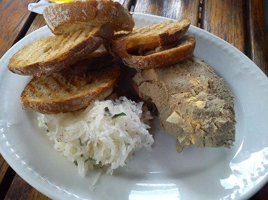 Mishkin's: Chopped chicken liver and schmaltzed radish, toast