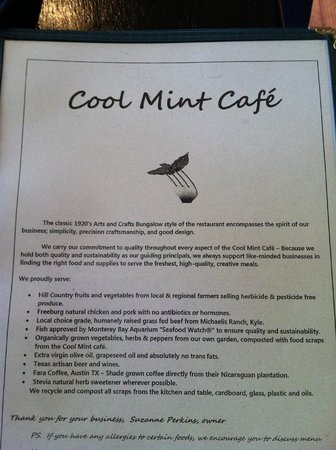 Cool Mint Cafe: Cool Mint uses locally produced foods for their delicious, healthy dishes.