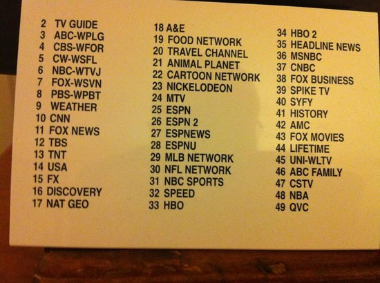 Holiday Inn Ft. Lauderdale Airport : Channel selection