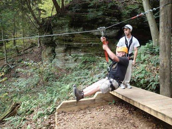 Soaring Cliffs Zip Line Course: Dad sets off