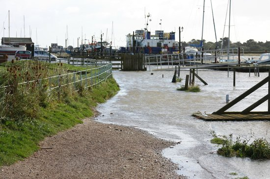 "Southwold Sailors' Reading Room: Southwould Harbour ""Hight tide"" 6 October 2013. Path near pub."