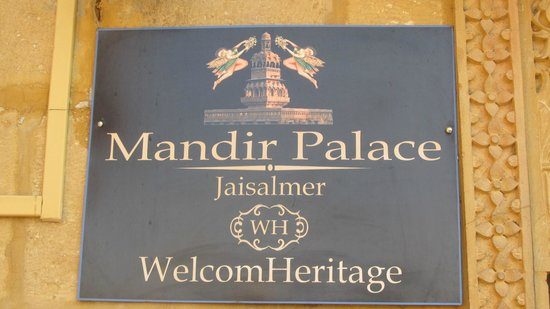 WelcomHeritage Mandir Palace : Front plaque