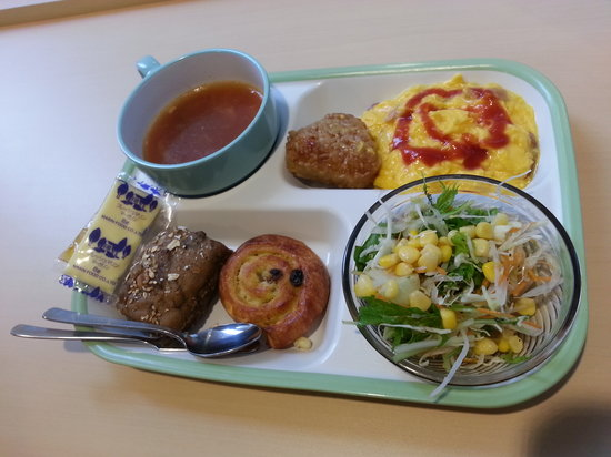 Super Hotel Asakusa: Individual Breakfast tray with choices picked from the buffet