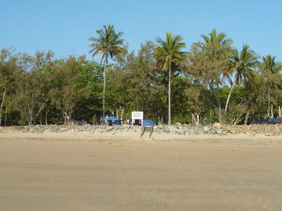 Mackay Blacks Beach Holiday Park: Spot the tents - view from beach