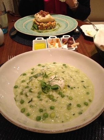 Terrace BA : veggie risotto and cod dish