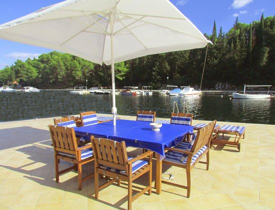 Korcula Waterfront Accommodation: Sea & forest views from private waterfront terrace