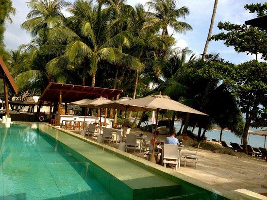 SALA Samui Choengmon Beach Resort: Weisser Pool und Teil des Restaurants