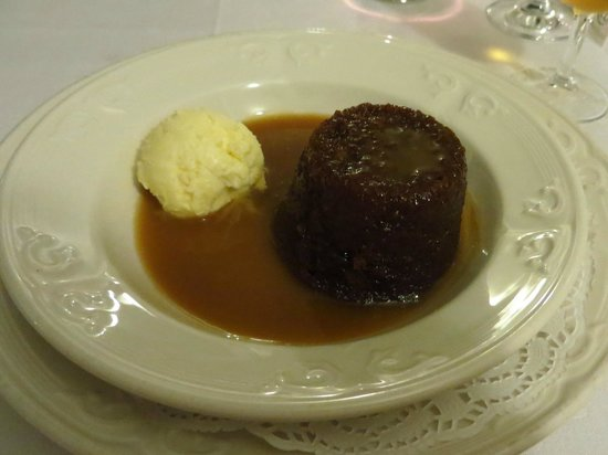@Angela's: Sticky toffee pudding with homemade clotted cream ice cream